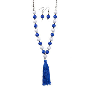 Blue and White Bead Tassel Necklace Set