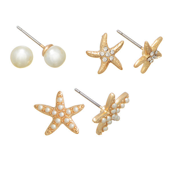 Set of 3 Starfish and Pearl Earrings