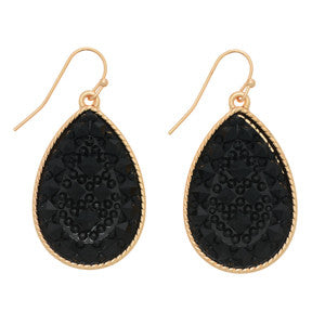 Black Textured Vintage Teardrop Earrings