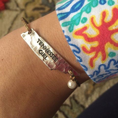 Tennessee Girl State Bangle w/pearl