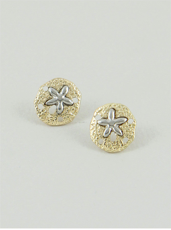 Silver and Gold Sand Dollar Earrings