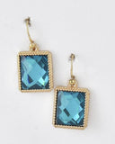 Teal Vintage Inspired Square Earrings