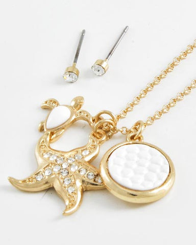Turtle and Gold Starfish Necklace Set