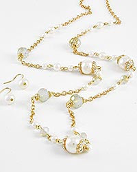 Pearl w/Crystal Accent Long Necklace Set