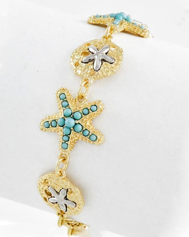 Teal Starfish and Gold Sand Dollar Bracelet