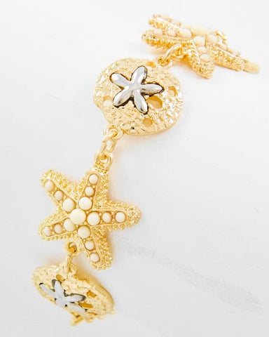 White Starfish and Gold Sand Dollar Bracelet