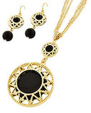 Black and Gold Medallion Necklace Set