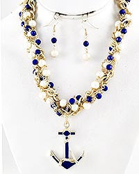 Gold Brushed Twist Anchor Necklace Set