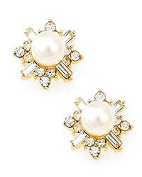 Gold Pearl w/Rhinestone Accent Earrings
