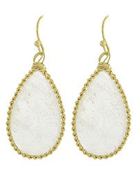 White Semi-precious Stone Teardrop Earrings