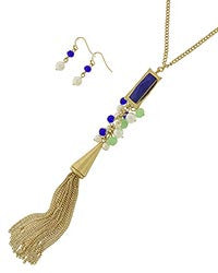 Blue Stone w/Glass & Pearl Drop Tassel Necklace Set