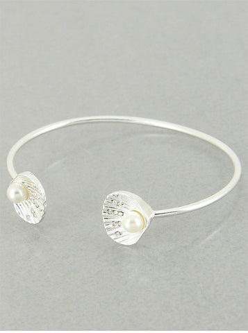 Double Silver Seashell Bangle w/Pearls