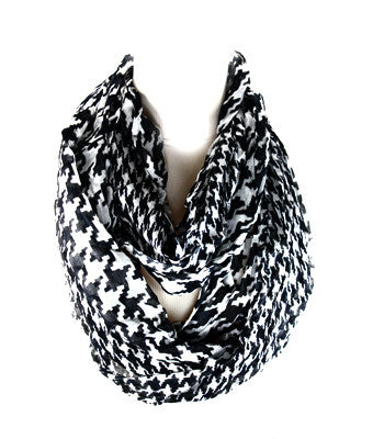 Black White Houndstooth Infinity Scarf