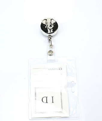 Black Enamel & Elephant ID Holder