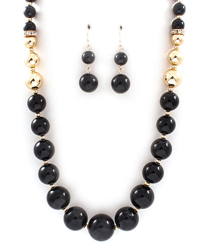 Black and Gold Graduate Bead Necklace Set