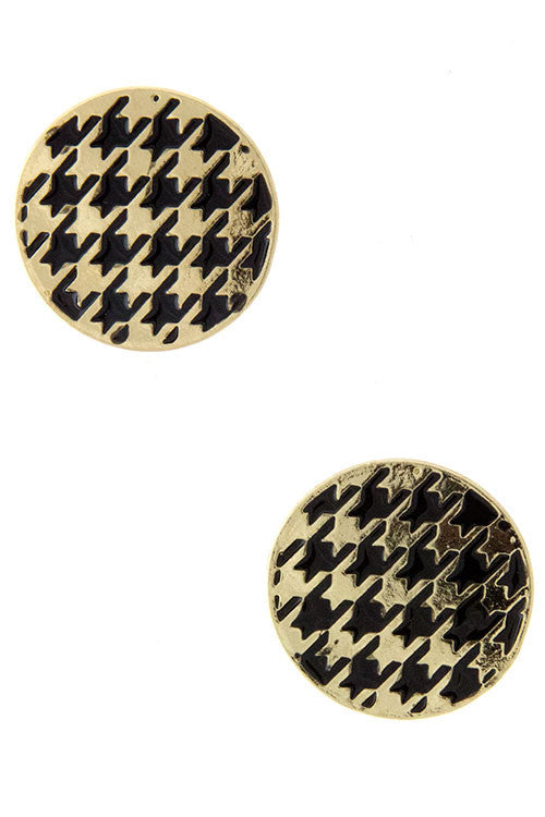Houndsthooth and Gold Button Earrings