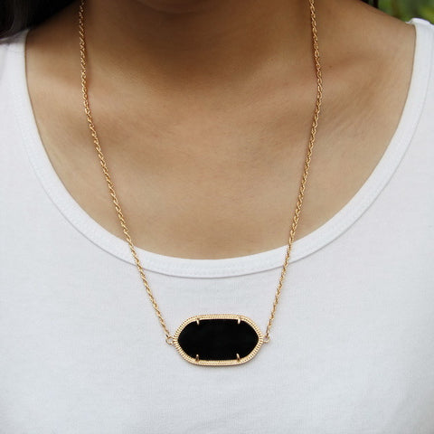Single Stone Inspired Necklace - Black