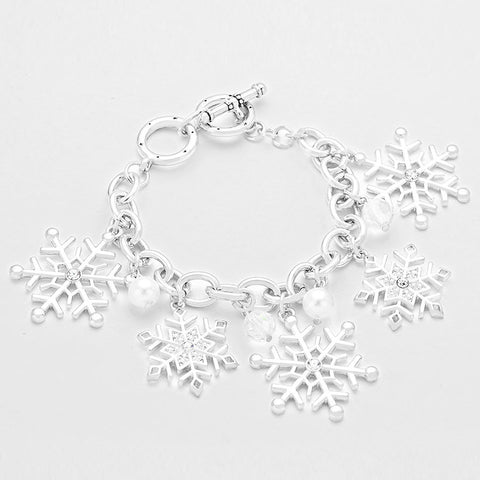 Crystal Accent Snowflake Toggle Bracelet
