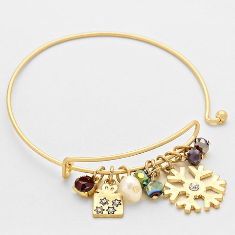 Crystal Accent Christmas Bracelet - Goldtone