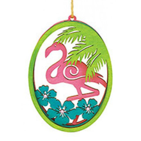 Rhinestone Flamingo Wood Ornament