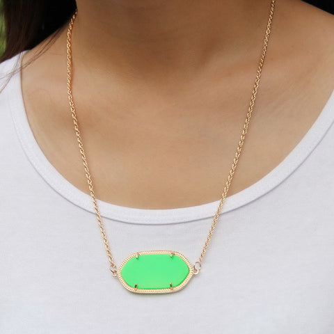 Single Stone Inspired Necklace - Green