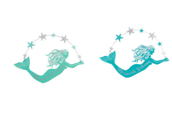Metal Mermaid Wall Hanger - 2 Assorted