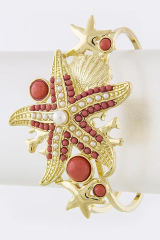 Coral Starfish Bead Accent Bracelet