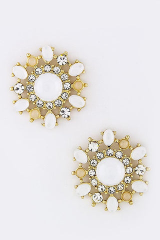 Preppy Floral Crystal Earrings