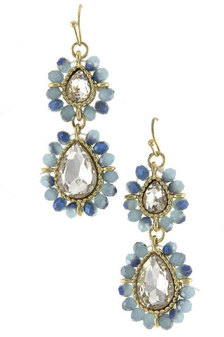 Dangle Gold and Blue Seedbead Earrings