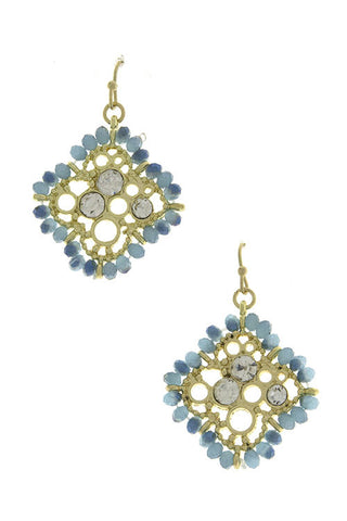 Gold and Blue Seedbead Earrings