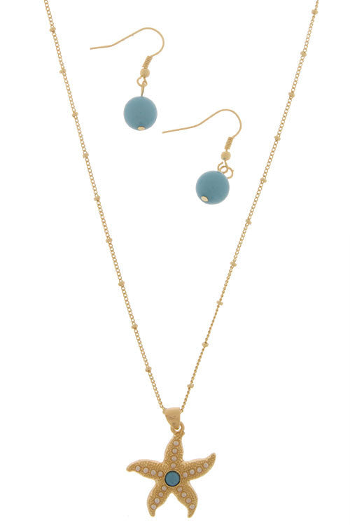 Gold w/Lt Blue Stone Starfish Necklace Set