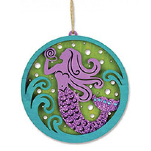 Glitter Mermaid Wood Ornament