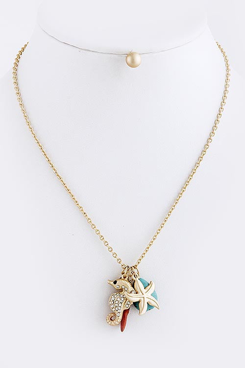 Gold Starfish and Friends Necklace