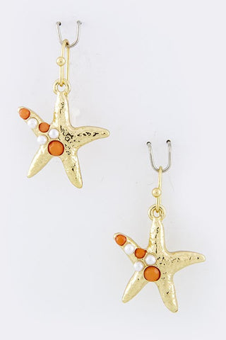 Small Gold & Orange Starfish Earrings