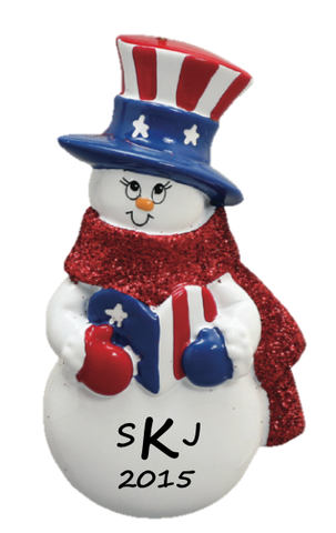 Patriotic Snowman Ornament
