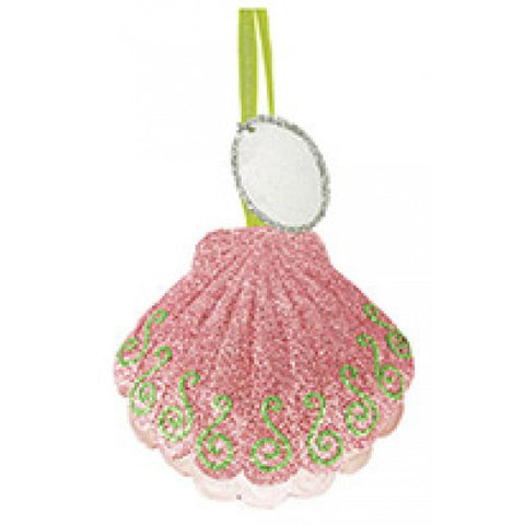 Glittered Metal Ornament - Scallop Shell