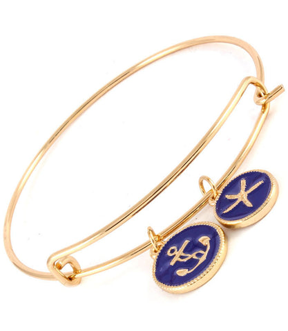 Navy Enamel Anchor and Starfish Bracelet
