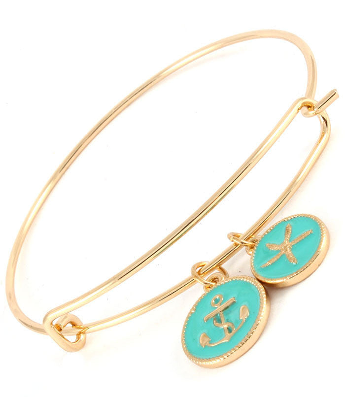 Teal Enamel Anchor and Starfish Bracelet