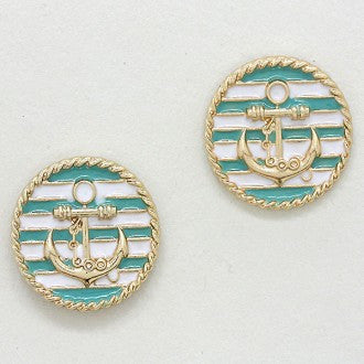 Striped Mint Anchor Round Earrings