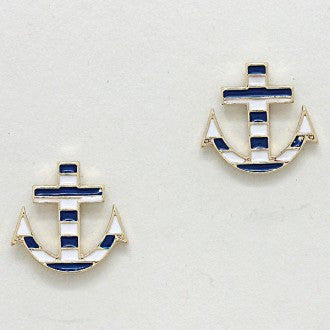 Striped Navy Anchor Earrings