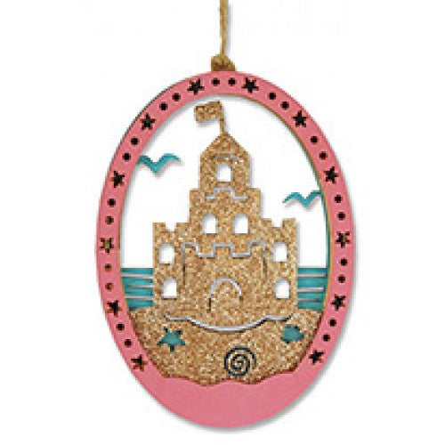 Glitter Sandcastle Wood Ornament