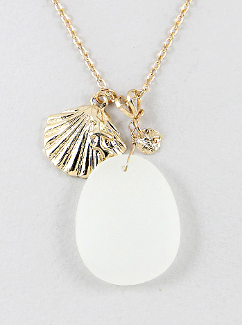 White Sea Glass with Gold Seashell Necklace