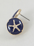 Gold and Navy Starfish Inlay Earrings
