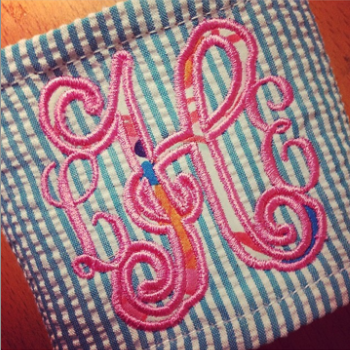 Seersucker Can Wrap w/Monogram Applique
