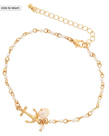 Gold Anchor and Pearl Anklet/Bracelet