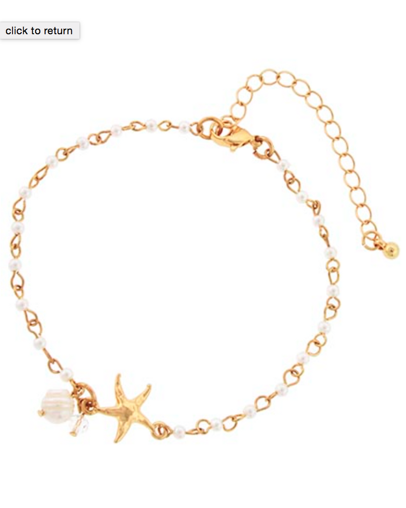 Starfish and Pearl Anklet
