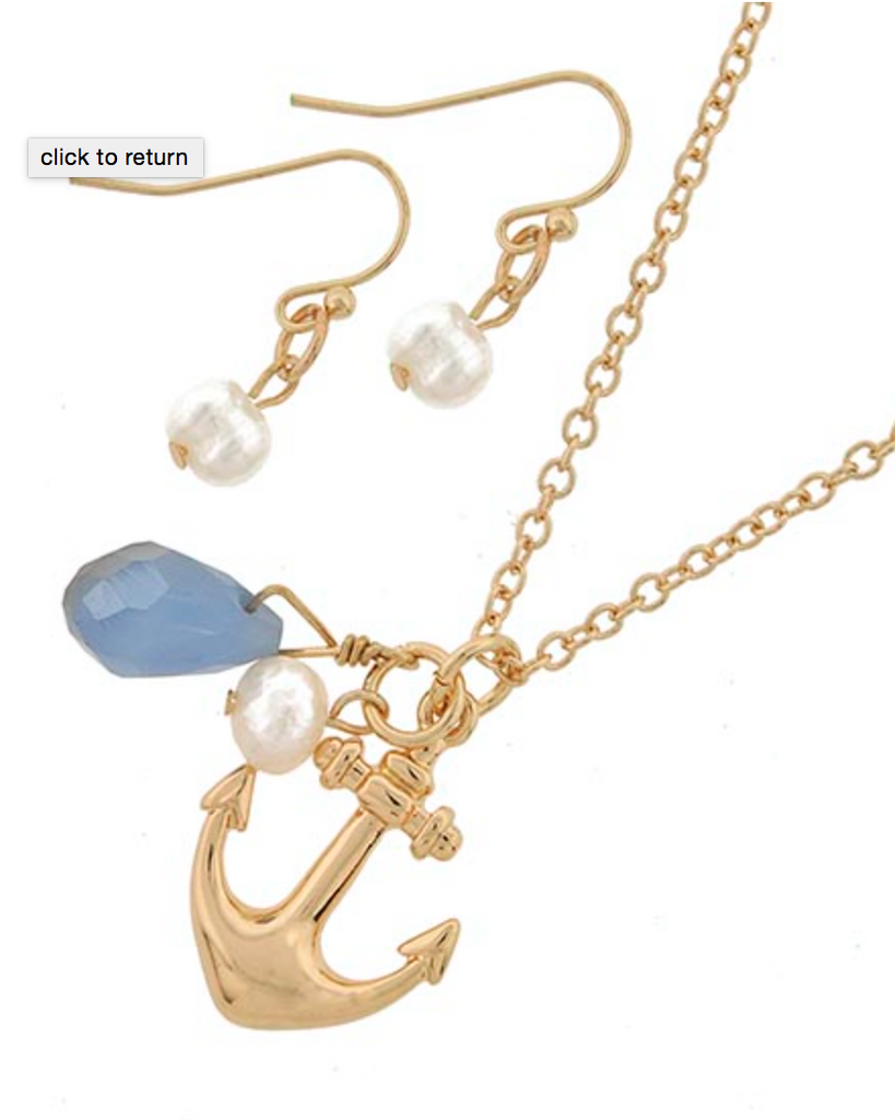 Goldtone Anchor Sea glass and Pearl Necklace Set