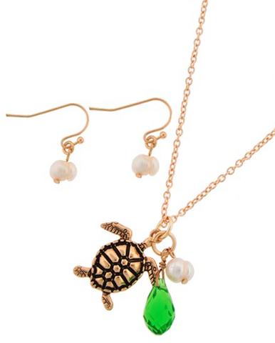 Gold Turtle Necklace Set with Pearls