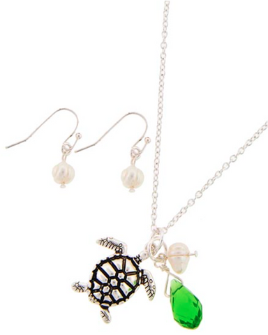 Silver Turtle Necklace Set with Pearls
