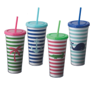 Preppy Stripe 24oz DW Tumbler with Lid and Straw